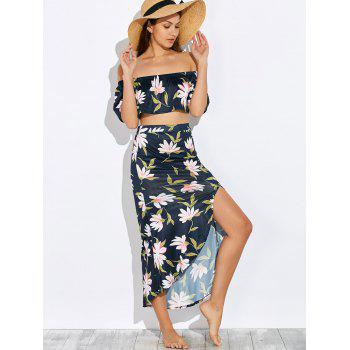 Crop Top and Floral Print Skirt Twinset - S S