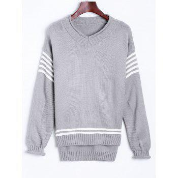 V Neck Pullover Sweater With Stripe Sleeve