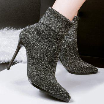Glitter Ribbed Pointed Toe Short Boots