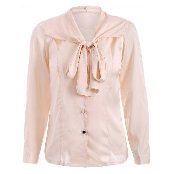 Bow Tie Neck Satin Shirt