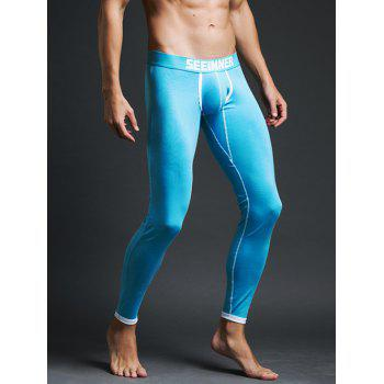 Contrast Trim Skinny Thermal Long Johns - LAKE BLUE XL