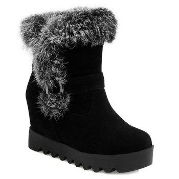 Faux Fur Buckle Strap Hidden Wedge Boots