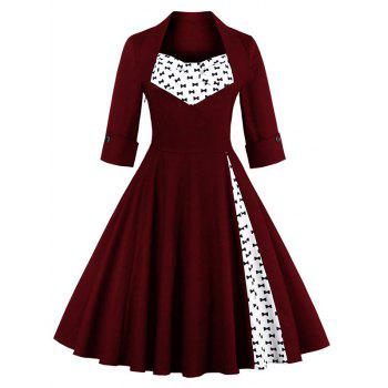 Buy Bowknot Swing Dress Vintage Prom Dresses WINE RED