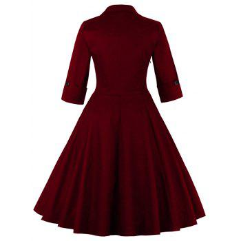 Bowknot Swing Dress Vintage Prom Dresses - WINE RED 2XL