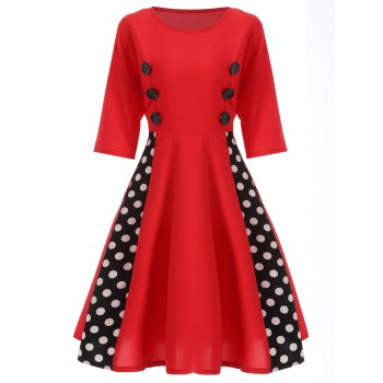 Polka Dot Insert Swing Dress - RED RED