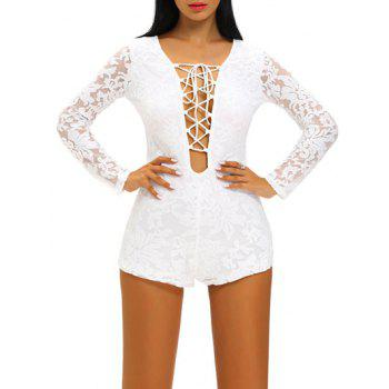 Plunge Neck Lace Up See Thru Romper
