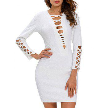 Plunge Neck Strappy Bodycon Dress
