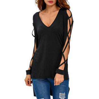 V Neck High Low Cut Out T-Shirt