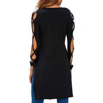 V Neck High Low Cut Out T-Shirt - BLACK M