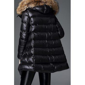 Fur Hooded Down Quilted Coat - BLACK S