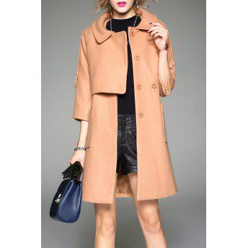 Buttoned Wool Blend Coat with Pockets