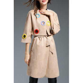 Layered Grommet Design Faux Suede Coat