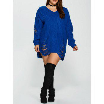 Distressed Plus Size Sweater - BLUE BLUE