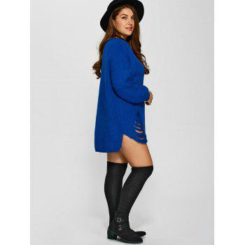 Distressed Plus Size Sweater - Bleu XL