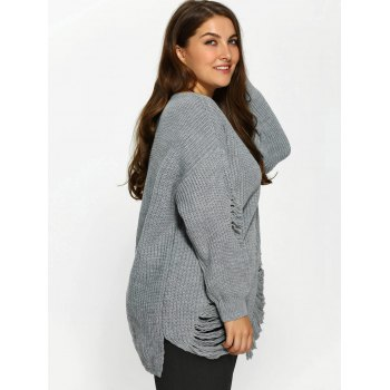 Distressed Plus Size Sweater - Gris 2XL