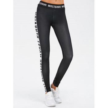 Sporty Letter Print Color Block Leggings - BLACK S
