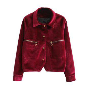Zipper Pocket Velvet Graphic Embroidered Jacket