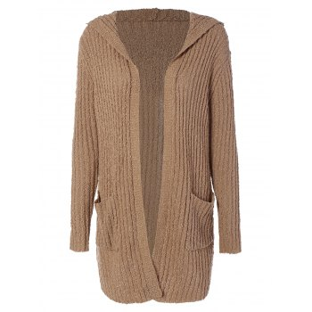 Hooded Ribbed Long Cardigan - BROWN L