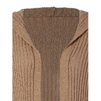 Hooded Ribbed Long Cardigan - BROWN BROWN