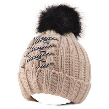 Winter Knitted Crossing Rope Pompom Skullies Beanie