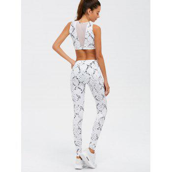 High Waist Skinny Mesh Spliced See-Through Sport Suit - WHITE L