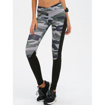 Insert Camo Print Gym Leggings - CAMOUFLAGE CAMOUFLAGE
