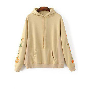 Floral Embroidered Front Pocket Hoodie
