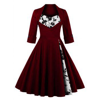 knee length floral flare corset dress wine red xl in