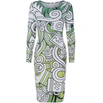 Long Sleeve Multielement Doodle Print Dress