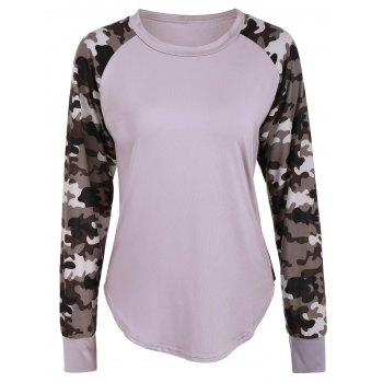 Raglan Sleeve Camouflage Panel T-Shirt