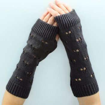 Heart Hollow Out Knitted Arm Warmers - BLACK BLACK