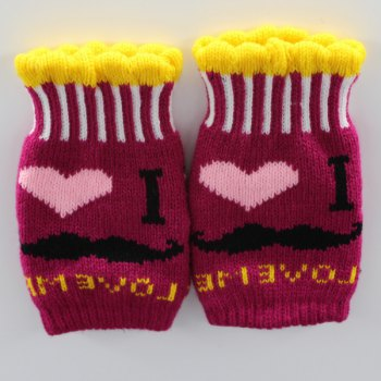 Beard Love Knitted Fingerless Gloves - SANGRIA
