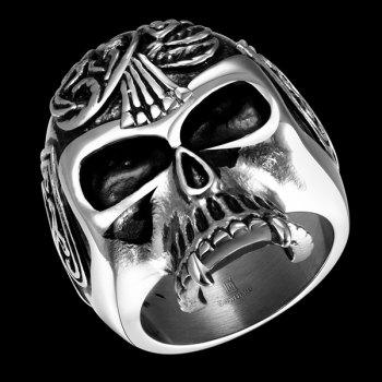 Alloy Engraved Skull Shape Ring - SILVER 8