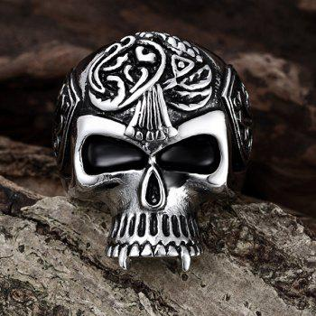 Alloy Engraved Skull Shape Ring - SILVER 10
