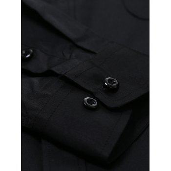 Chest Pocket Long Sleeve Plain Shirt - BLACK 3XL
