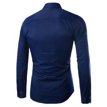 Turn Down Collar Angle Cuff Plain Shirt - CADETBLUE 5XL