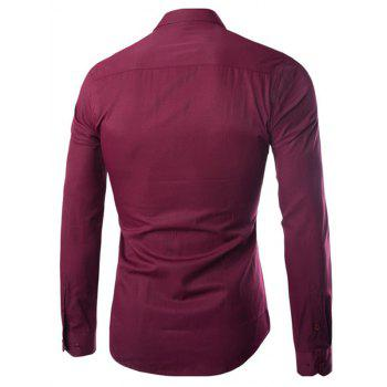 Turn Down Collar Angle Cuff Plain Shirt - BURGUNDY 3XL