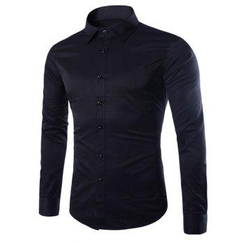 Turn Down Collar Angle Cuff Plain Shirt - BLACK BLACK