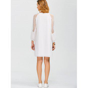 Lace Paneled Openwork Dress - WHITE S
