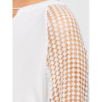 Lace Paneled Openwork Dress - WHITE M