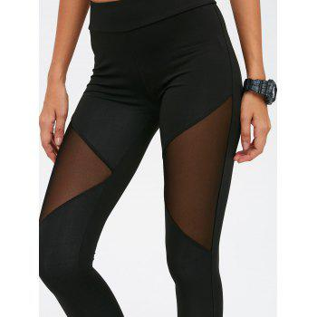 Skinny Mesh Spliced See-Through Sport Suit - BLACK L