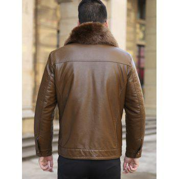 Detachable Faux Fur Collar Flocking Plus Size PU Leather Jacket - BROWN XL