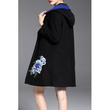 Rose Embroidered Hooded Woolen Coat - BLUE XL
