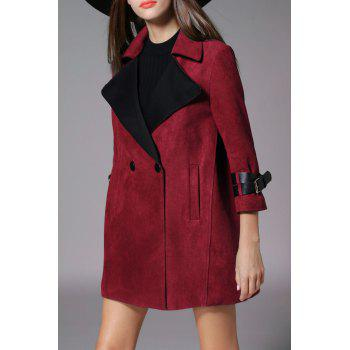 Wide-Waisted Buttoned Faux Suede Coat - WINE RED S