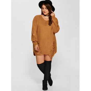 Distressed Plus Size Sweater - EARTHY XL
