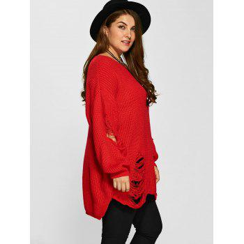 Distressed Plus Size Sweater - RED XL