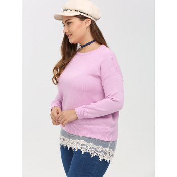 Crew Neck Lace Spliced Plus Size Sweater - PINK 2XL