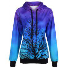 Ombre Color Tree Pullover Hoodie