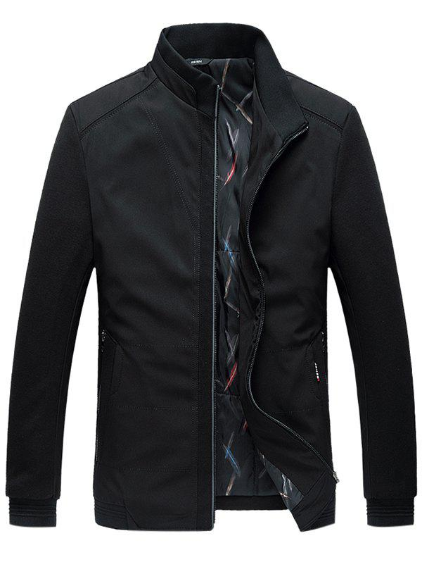 Zip Up Side Pocket Paneled Padded Jacket - BLACK 5XL