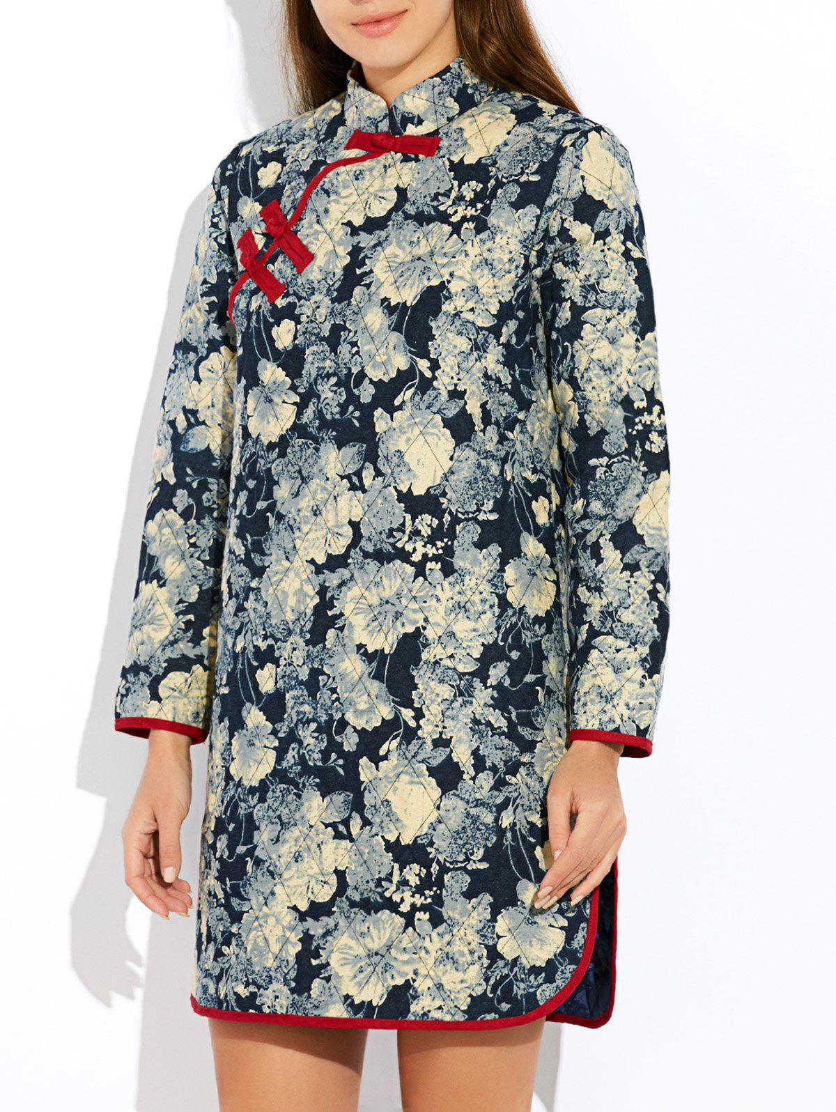 Floral Long Chinese Style Coat - GRAY XL